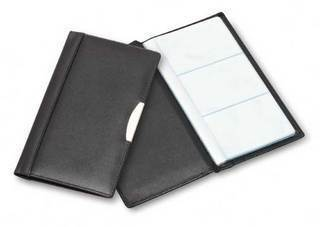 Promotional Product Leather Card File W/ Silver Trim