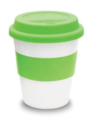 Promotional Product White ceramic takeaway cup with mix n match bands and lids