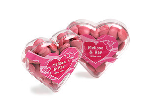 Promotional Product Acrylic Heart filled with Choc Beans 50g