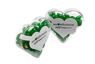 Promotional Product Acrylic Heart filled with Jelly Beans 50g