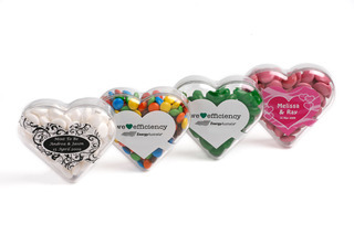 Promotional Product Acrylic Heart filled with Mints 50g