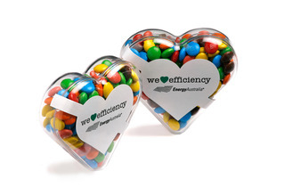 Promotional Product  Acrylic Heart filled with Mini M&Ms 50g