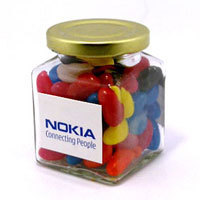 Promotional Product 170gm Jelly Beans in Glass Jar - mixed or corporate colours