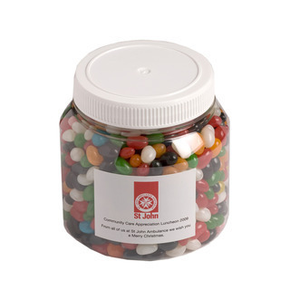 Promotional Product 1kg PET Jar filled with Jelly Beans - Mixed or Corporate Colours