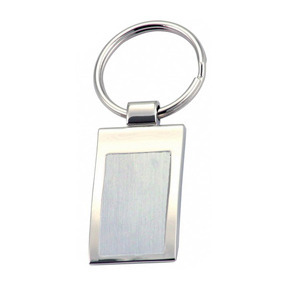Promotional Product Keyring with brushed steel plate