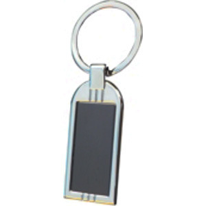 Promotional Product Rectangle Keyring with shiny black plate