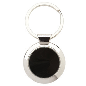 Promotional Product Round Keyring with shiny black plate