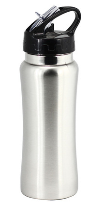 Promotional Product stainless steel drink bottle with drinking straw - SILVER
