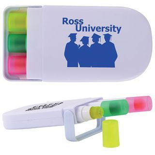 Promotional Product Set of 3 Retractable Highlight Wax Markers in White Case