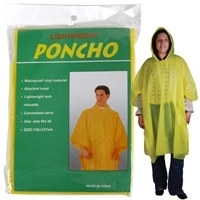 Promotional Product Polythene Yellow Poncho In Clear Poly Bag