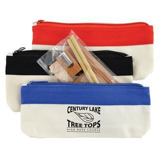 Promotional Product Bamboo Stationery Set In Cotton / Canvas Organiser / Pencil Case