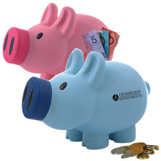 Promotional Product PRISCILLA PINK / PATRICK BLUE PIG COIN SAVINGS BANK