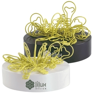 Promotional Product Yellow Light Bulb Shaped Paperclips on a Magnetic Base