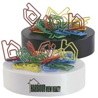 Promotional Product Assorted Colour House Shaped Paperclips on a Magnetic Base