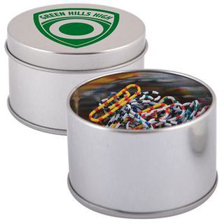 Promotional Product Assorted Colour Zebra Striped Paperclips in Silver Round Tin