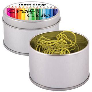 Promotional Product Yellow Light Bulb Paperclips in Silver Round Tin
