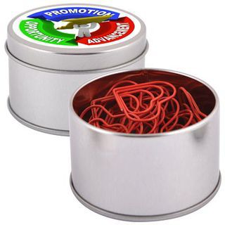 Promotional Product Red Heart Paperclips in Silver Round Tin