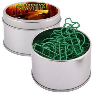 Promotional Product Green Dollar Paperclips in Silver Round Tin
