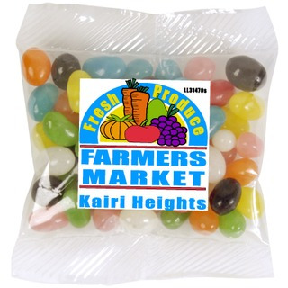 Promotional Product Assorted Colour Mini Jelly Beans in 60gm Cello Bag