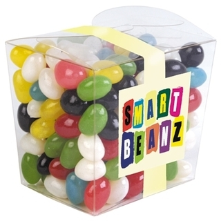 Promotional Product 200gm Assorted Colour Jelly Beans in Clear Noodle Box