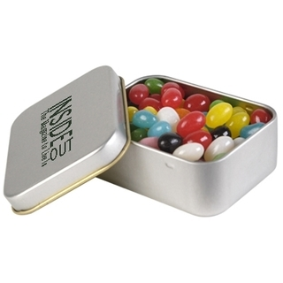 Promotional Product 60gm Assorted Colour Jelly Beans in Silver Tins