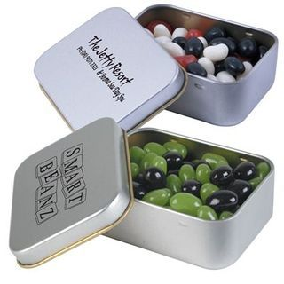 Promotional Product Corporate Colour Jelly Beans in Silver Rectangular Tins