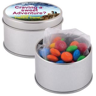 Promotional Product  M&M's in Silver Round Tins
