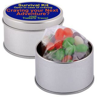Promotional Product Corporate Colour Mini Jelly Beans in Silver 2 Piece Round Tin