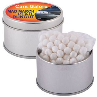 Promotional Product Peppermints in Silver 2 Piece Round Tin