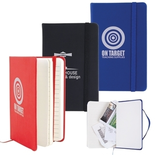 Promotional Product Notebook With Elastic Closure / Expandable Pocket
