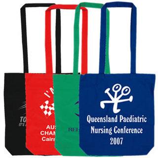 Promotional Product Coloured Cotton Double Longe Handle Conference Bag