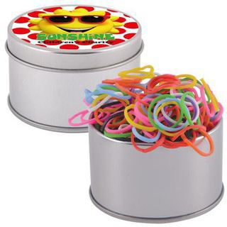 Promotional Product Assorted Colour Loom Bands in Silver 2 Piece Round Tin