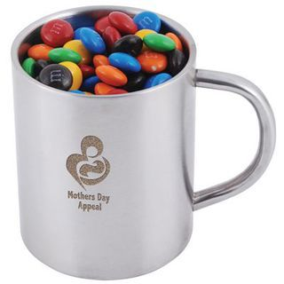 Promotional Product M&M's In Double Wall Stainless Steel Barrel Mug