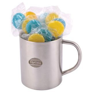 Promotional Product  Corporate Colour Lolliops in Double Wall Stainless Steel Barrel Mug