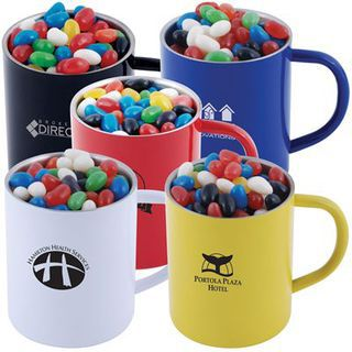 Promotional Product Assorted Colour Mini Jelly Beans in Double Wall Stainless Steel Coloured Barrel Mug