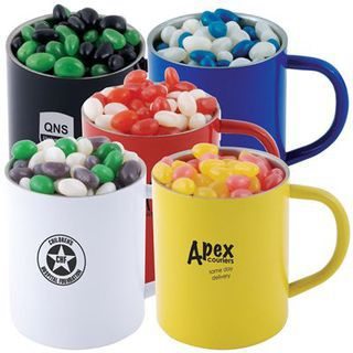 Promotional Product Corporate Colour Mini Jelly Beans In Double Wall Stainless Steel Coloured Barrel Mug