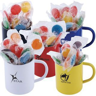 Promotional Product Assorted Colour Lollipops in Double Wall Stainless Steel Coloured Barrel Mug