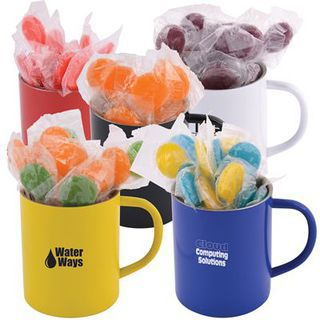 Promotional Product  Corporate Colour Lollipops in Double Wall Stainless Steel Coloured Barrel Mug