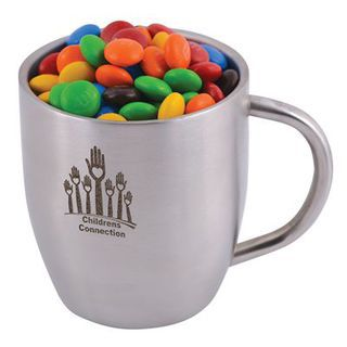 Promotional Product  M&M's in Double Wall Stainless Steel Curved Mug