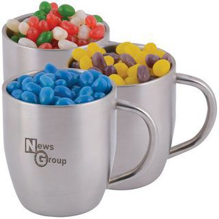 Promotional Product Corporate Colour Mini Jelly Beans In Double Wall Stainless Steel Curved Mug