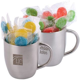 Promotional Product Corporate Colour Lollipops in Double Wall Stainless Steel Curved Mug