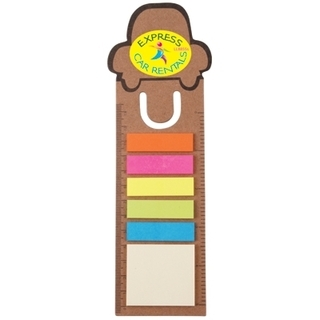 Promotional Product Car Bookmark / Ruler With Noteflags