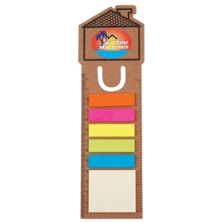 Promotional Product House Bookmark / Ruler With Noteflags