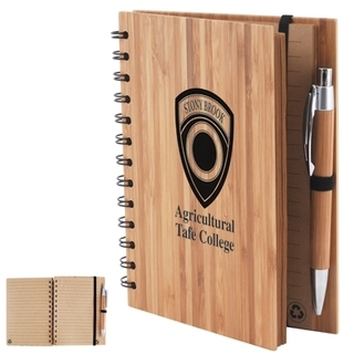Promotional Product Bamboo Cover Notebook with Pen