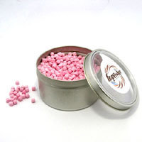 Promotional Product Peppermint/Musk Mini Candy in Small Round Window Tin