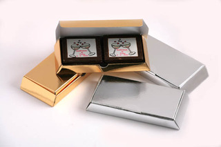Promotional Product 2 Picture Chocolates in gold or silver box
