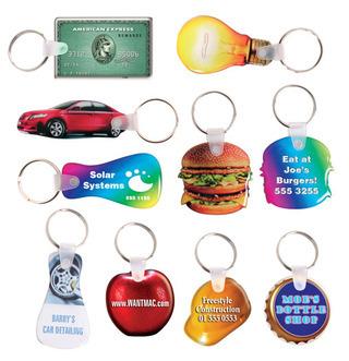 Promotional Product Custom Shape Multi-Coloured Domed Flexible Keytag 16mm