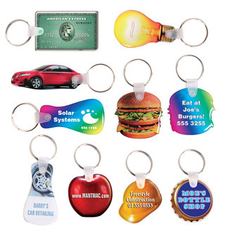 Promotional Product Custom Shape Multi-Coloured Domed Flexible Keytag 25mm