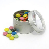 Promotional Product Choc Beans (Smarties) in Small Round Window Tin
