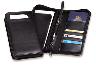 Promotional Product Zip Travel Wallet (Bonded Leather)